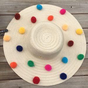 Betsy Johnson NWT Beige Straw  Pom Pom floppy hat